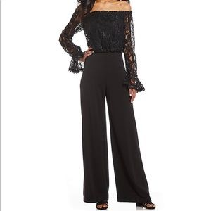 NWT Off-the-Shoulder Lace Bodice Jumpsuit